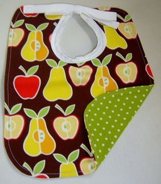 Brown apples and pears bib