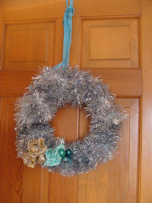 Blue tinsel wreath