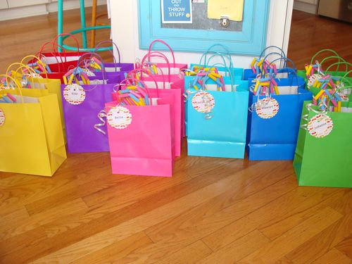 Rainbow party treat bags